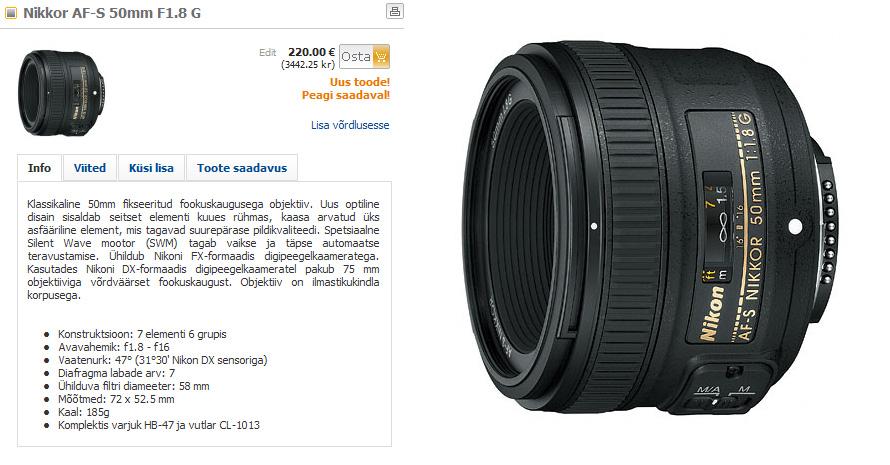f8b0e45f675 E-pood - Objektiivid ja tarvikud - Objektiivid Nikonile - Nikkor -  Fiksobjektiivid - Nikkor AF-S 50mm f/1.8 G - Fotoluks - Tallinna ja Tartu  parim ...
